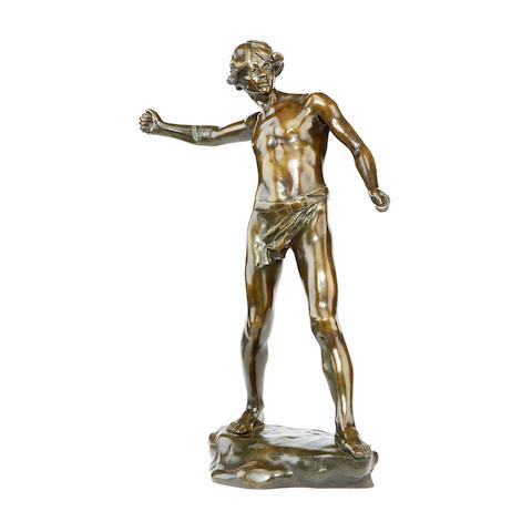 A late 19th century French bronze figure of David