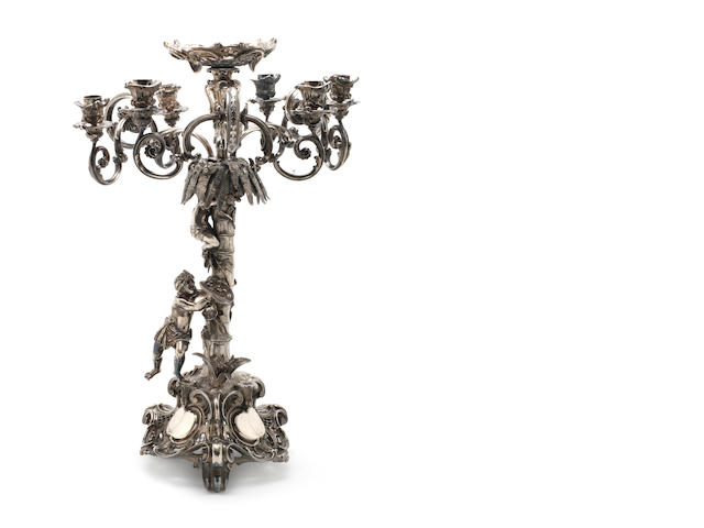 A large elecrotplated six-light candelabra / centrepiece unmarked