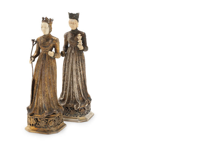 Two 20th century silver-gilt and ivory models of Medieval ladies by L. Neresheimer & Co, Hanau from 1903; together with two continental knights  (4)