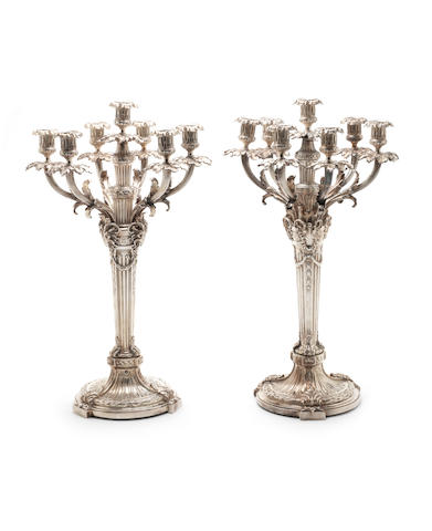 A pair of electroplated seven-light Empire style candelabra unmarked  (2)