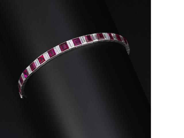 A ruby and diamond bracelet,  by Van Cleef & Arpels,