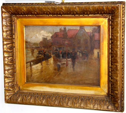 John Sanderson Sanderson-Wells, RI (British, 1872-1955) A quayside stroll