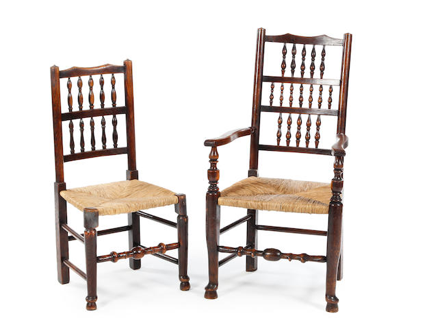 A near set of eight 19th century ash spindle-back chairs