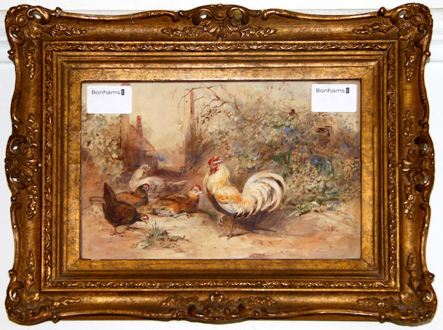 Charles Harvey Weigall, NWS (British, 1794-1877) Cockerel with hens