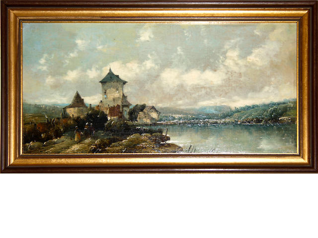 English School, 19th century A castle on the shores of a lake, A boat on a lake; a pair