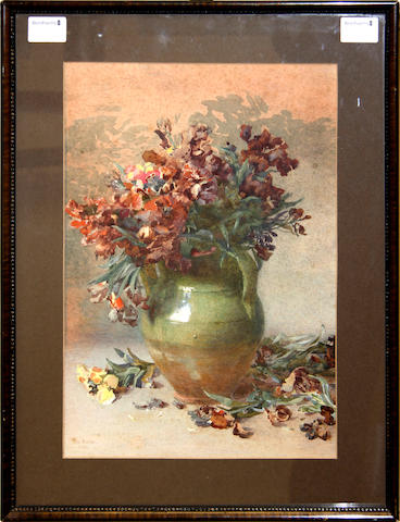 Rose Maynard Barton, R.W.S. (Irish, 1865-1929) A study of wallflowers in a two handled jar