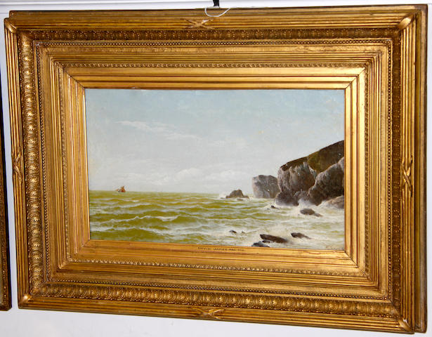 David James (British, fl. 1883-1897) A rocky coastal scene