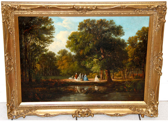 19th Century English School Figures in a park beside a lake