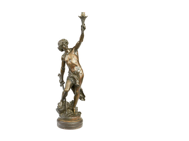 After Louis Gossin, French (1846-1928) An early 20th century bronze figural lamp base