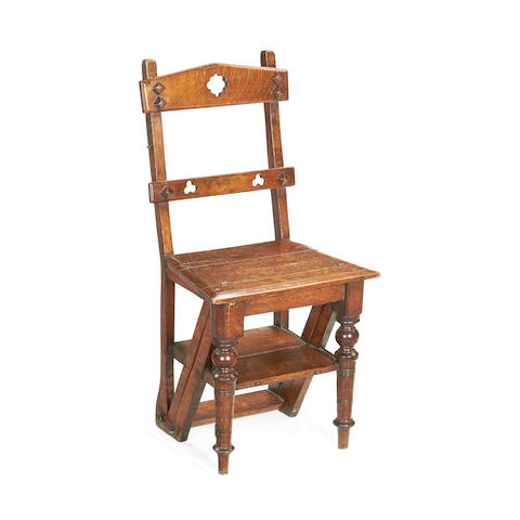 A Victorian oak metamorphic side chair/library steps