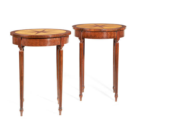 A pair of rosewood, ash and walnut lamp tables