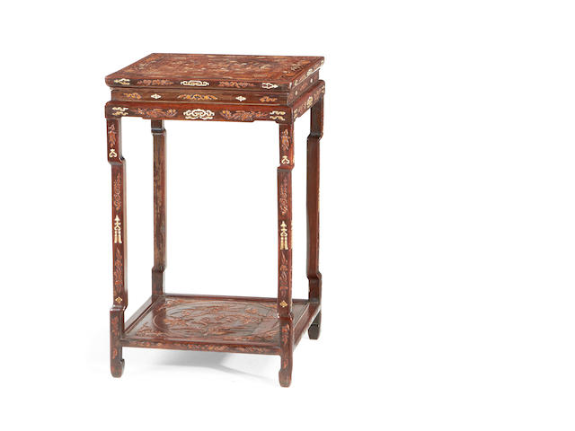 A Chinese late 19th/early 20th century ivory and hardstone inset rosewood occasional table