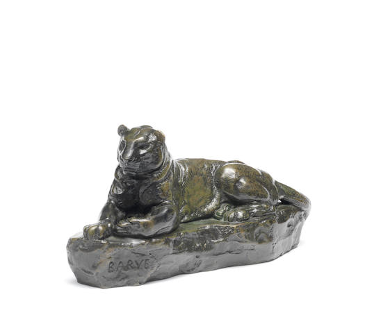 After Antoine Louis Barye (French, 1795 - 1875) A bronze model of a panther Panthere de L'Inde No.1 cast by Barbedienne