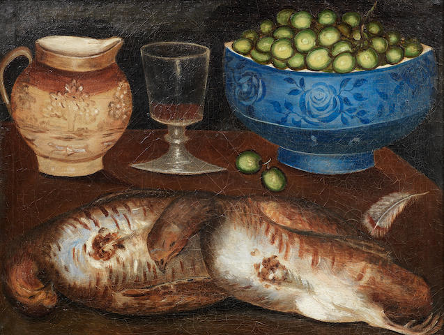 English Naïve School, 19th century A brace of partridge, a bowl of grapes and a jug of wine on a table top