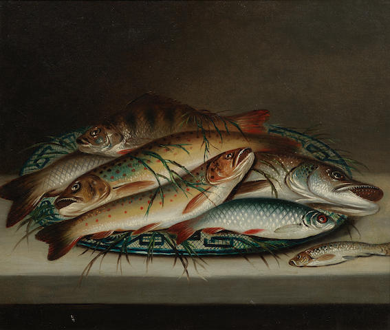 English School, 19th century Still life of fish on a decorative plate
