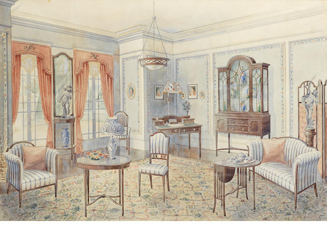 Pair of Victorian/Edwardian interiors - watercolours
