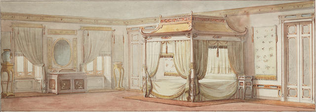 a pair of watercolours of interiors - attributed to Crace ??