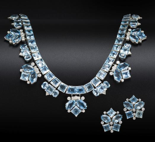 An aquamarine and diamond necklace and earring suite, by Cartier, (2)