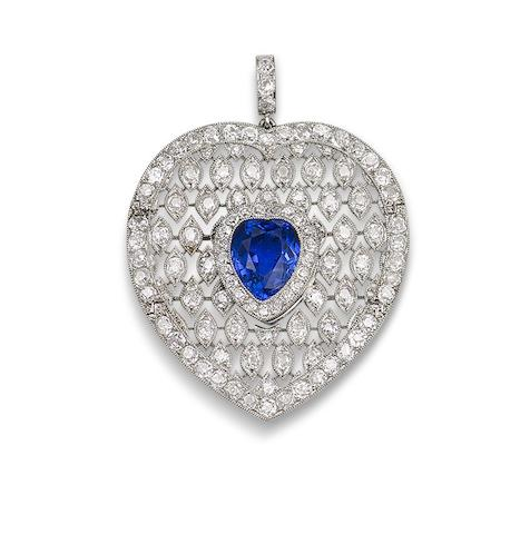 A sapphire and diamond pendant, by Cartier,