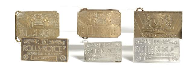 Six Rolls-Royce belt buckles, 1960s-modern,