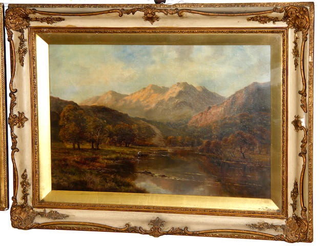English School, 19th century Mountainous landscape with a figure by a river in the valley