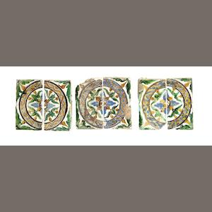 Three pairs of Spanish (Seville) arista glazed tiles, circa 1525-50