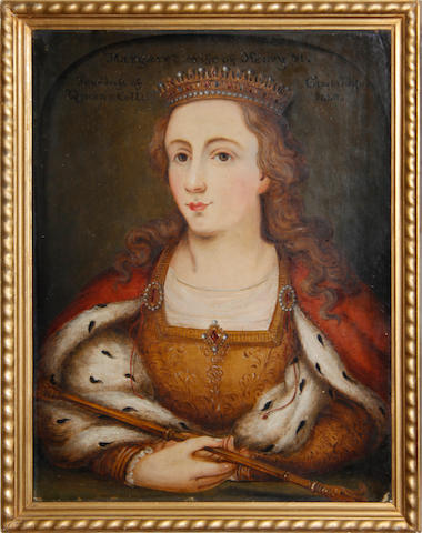 English School, 19th Century 'Margaret, wife of Henry VI, Foundress of Queen's College, Cambridge 1448' oil on board