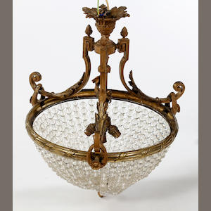 A 20th century gilt metal chandelier, in 19th century style