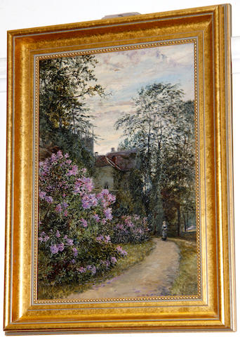 Frederick William Newton Whitehead (British, 1853-1938) Country lane with rhododendrons