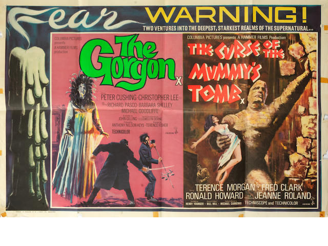 Horror Movies: A collection of thirteen film posters,  the majority Hammer related British quads, titles including:13