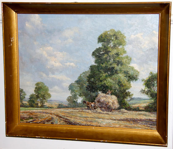 Richard Tearoe (20th Century) Dutch market place signed, oil on canvas; together with another by same artist, plough team, signed, oil on canvas,
