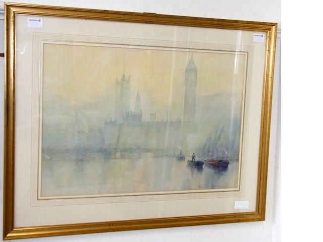Rose Champion De Crespigny (exh. 1891-1929) Westminster Bridge, Houses of Parliament and Big Ben