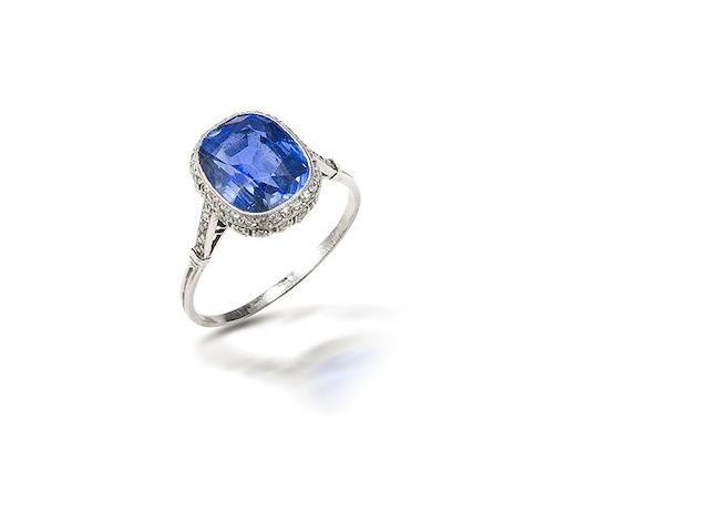 A belle époque sapphire and diamond ring,