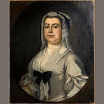 English School, late 18th Century Portrait of a woman, bust-length, in a white silk dress and headress, unframed