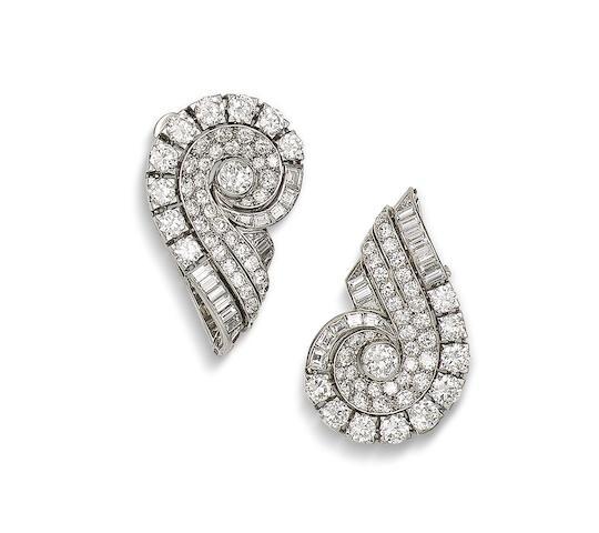 An art deco diamond double-clip brooch, by Boucheron,