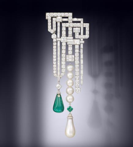 A magnificent and rare art deco natural pearl, emerald and diamond brooch, by Van Cleef & Arpels,