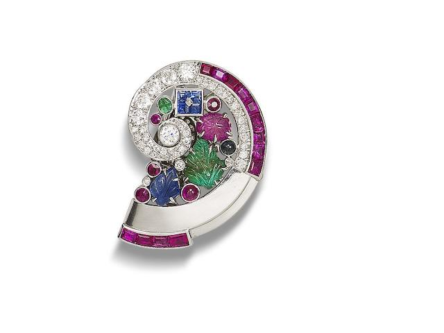 A multi-gem set clip brooch, by Mauboussin,