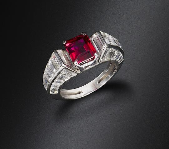 A ruby and diamond ring, by Van Cleef & Arpels,