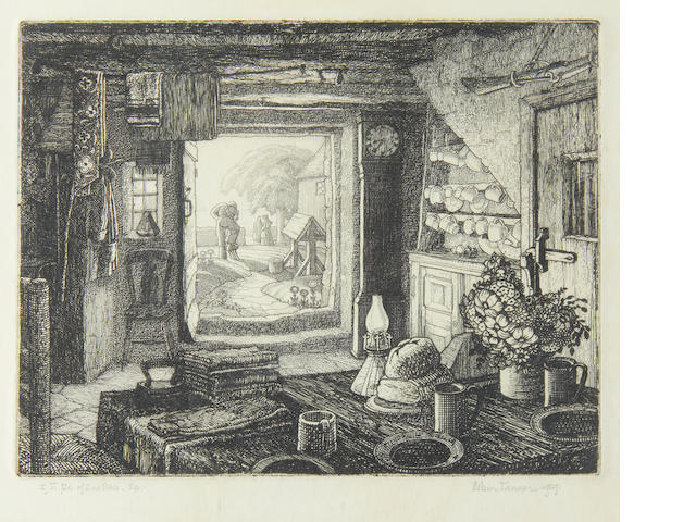 Robin Tanner (British, 1904-1988) Gamekeeper's Cottage etching, 1929, the second state, signed and dated in pencil, 175 x 225mm (7 x 8 3/4in)(PL)