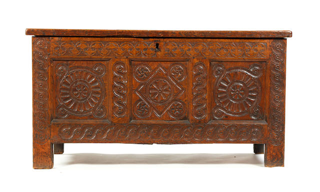 A mid-17th century oak coffer Possibly Herefordshire