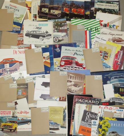 A quantity of sales brochures for American marques,