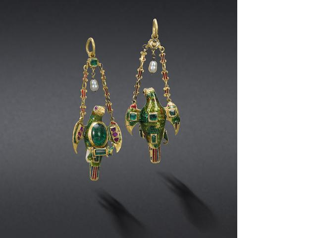 A Spanish Colonial gold, enamel and gem-set pendant,