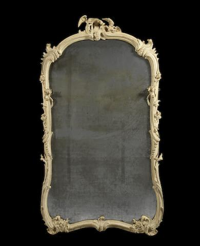 A French Louis XV white painted over-mantel mirror
