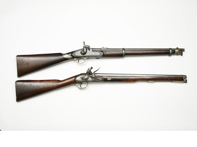 A 25-Bore 1861 Pattern Percussion Cavalry Carbine, And A 17-Bore Flintlock Cavalry Carbine