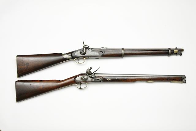 A 25-Bore 1861 Pattern Percussion Cavalry Carbine, And A 17-Bore Flintlock Cavalry Carbine
