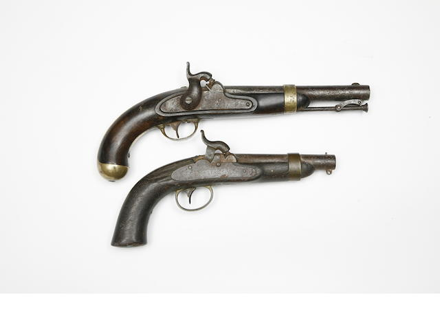 A 25-Bore 1842 Model Navy Percussion Pistol, And A 28-Bore 1842 Model Percussion Pistol