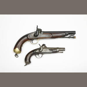 A Liège 22-Bore Percussion Military Pistol, And A French 22-Bore 1822 Model Percussion Gendamerie Pistol