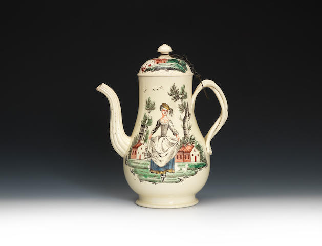 A good creamware coffee pot and cover, circa 1765-75