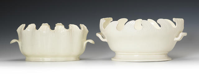 A Wedgwood creamware monteith and a Castleford monteith, circa 1790-1800