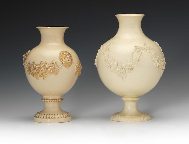 Two Wedgwood creamware vases, circa 1765-70